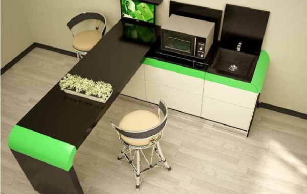 Transformable office – kitchen